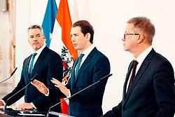 26.02.2020, Bundeskanzleramt, Wien, AUT, Bundesregierung, Doorsteps vor Sitzung des Ministerrats, im Bild v. l. Karl Nehammer (OeVP), Sebastian Kurz (OeVP), Rudolf Anschober (Gruene)// during media briefing before cabinet meeting at the federal chancellery in Vienna, Austria on 2020/02/26. EXPA Pictures © 2020, PhotoCredit: EXPA/ Florian Schroetter