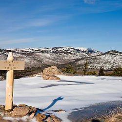Winter on the summit of Gorham Mountain in Maine's Acadia National Park.