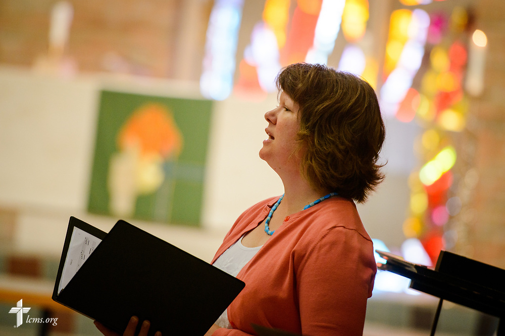 Katie Schuermann sings during Matins in the Chapel of Our Lord at the 2017 Institute on Liturgy, Preaching and Church Music on Wednesday, July 26, 2017, at Concordia University Chicago in River Forest, Ill. LCMS Communications/Erik M. Lunsford