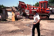 Roma 5 July 2007.Vacated Rom's camp  of via della Martora inhabited to Rudari Romani forced to leave the camp by the police..The house destroyed by the bulldozers of the municipality of Rome.