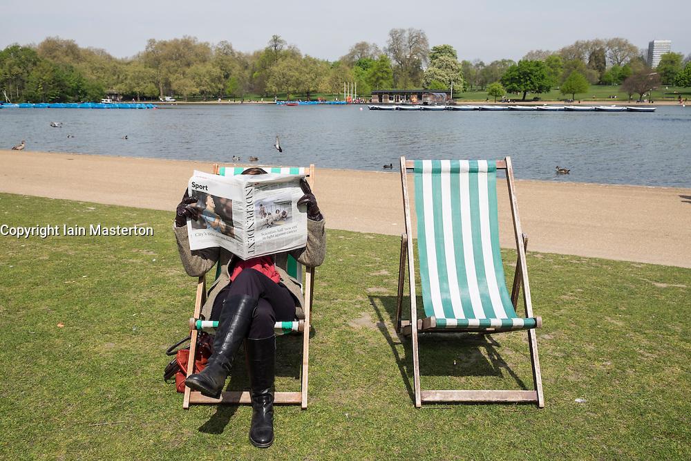 Deckchairs in Hyde Park in London United Kingdom