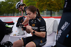 Grace Garner (GBR) prepares for GREE Tour of Guangxi Women's World Tour 2018, a 145.8 km road race in Guilin, China on October 21, 2018. Photo by Sean Robinson/velofocus.com