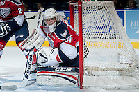 KELOWNA, CANADA -FEBRUARY 19: Evan Sarthou #31 of the Tri City Americans defends the net against the Kelowna Rockets on February 19, 2014 at Prospera Place in Kelowna, British Columbia, Canada.   (Photo by Marissa Baecker/Getty Images)  *** Local Caption *** Evan Sarthou;