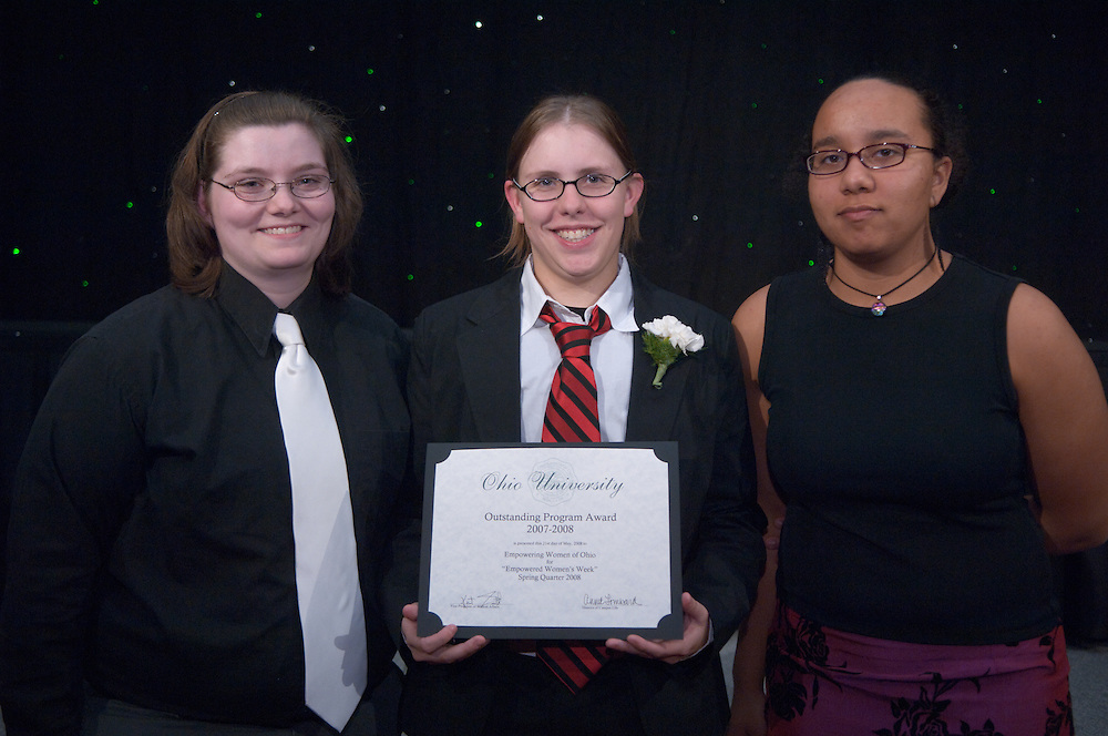 1890525th Annual Leadership Awards Gala..Outstanding Student Organization Programming Awards..Winter 2008...Chelsie Wollett, Erica Boehnlein, LAcey Rodgers