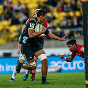 Sam Lousi runs during the Super rugby union game (Round 14) played between Hurricanes v Reds, on 18 May 2018, at Westpac Stadium, Wellington, New  Zealand.    Hurricanes won 38-34.