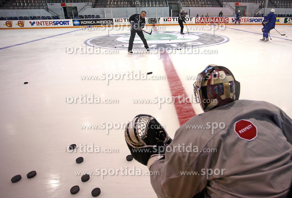 Goalkeeper Andrej Hocevar and Assistant coach Matjaz Kopitar at practice of Slovenian national team at Hockey IIHF WC 2008 in Halifax,  on May 01, 2008 in Forum Centre, Halifax, Canada.  (Photo by Vid Ponikvar / Sportal Images)