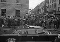 American President Richard Nixon's Motor Cavalcade passing the GPO on O'Connells Street in Dublin, with Henry Street in the Backround, circa October 1970 (Part of the Independent Newspapers Ireland/NLI Collection).