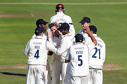 Bowler Mark Adair of Warwickshire celebrates after Marcus Trescothick (capt) of Somerset is caught out by Tim Ambrose for 87 - Mandatory byline: Rogan Thomson/JMP - 07966 386802 - 22/09/2015 - CRICKET - The County Ground - Taunton, England - Somerset v Warwickshire - Day 1 - LV= County Championship Division One.