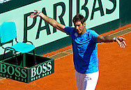Argentina's tennis player Juan Martin Del Potro celebrates after winning the 2012 Davis Cup quarterfinal match against Croatia's Marin Cilic, at Parque Roca stadium in Buenos Aires on April 8, 2012. Del Potro won 6-1, 6-2 and 6-1 and gave the series to Argentina.  (PHOTOXPHOTO/Alejandro PAGNI)