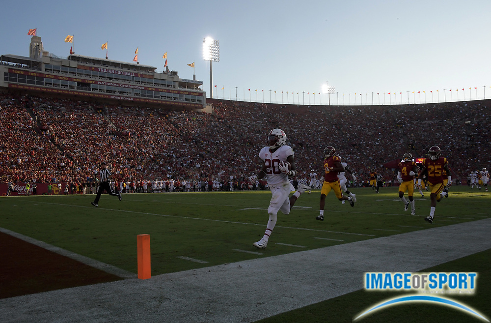 Sep 9, 2017; Los Angeles, CA, USA; Stanford Cardinal running back Bryce Love (20) scores on a 75-yard touchdown run in the first quarter against the Southern California Trojans during a NCAA football game at Los Angeles Memorial Coliseum.