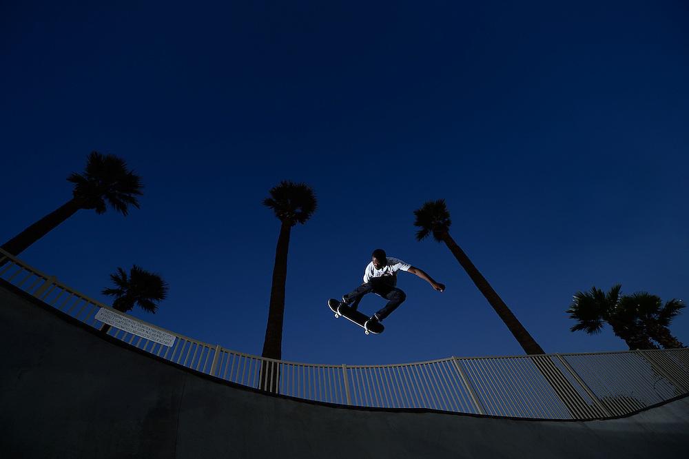 Skateboarder, Deshaun Jordan, at the Snedigar skatepark in Chandler, Arizona.