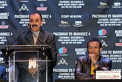 Sept 19, 2012; New York, NY, USA; Nacho Bernstain, trainer of Juan Manuel Marquez, speaks during the press conference announcing Marquez' fourth fight against Manny Pacquiao at The Edison Ballroom.