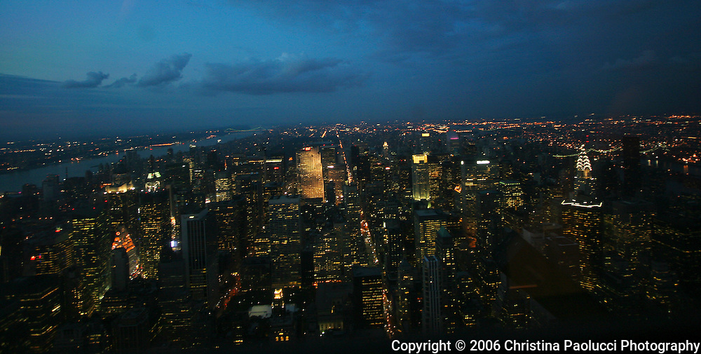 The sun sets on New York City viewed from the Empire State Building in September of 2006. (Christina Paolucci, photographer)