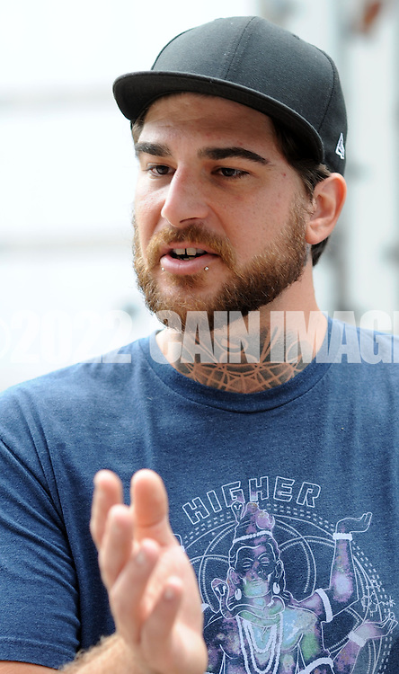 DOYLESTOWN, PA - JULY 08:  Mike Randazzo (C), 29, of Media, Pennsylvania speaks at a protest for a Bucks County defendant charged with marijuana possession July 8, 2014 in Doylestown, Pennsylvania.  (Photo by William Thomas Cain/Cain Images)