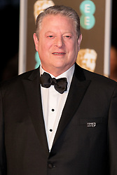 © Licensed to London News Pictures. 18/02/2018. AL GORE arrives on the red carpet for the EE British Academy Film Awards 2018, held at the Royal Albert Hall, London, UK. Photo credit: Ray Tang/LNP
