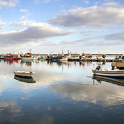 Ria Formosa natural conservation region, fishing boat port in St.Luzia, Algarve. Portugal.