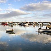 Ria Formosa natural conservation region, fishing boat port in St.Luzia, Algarve. Portugal.