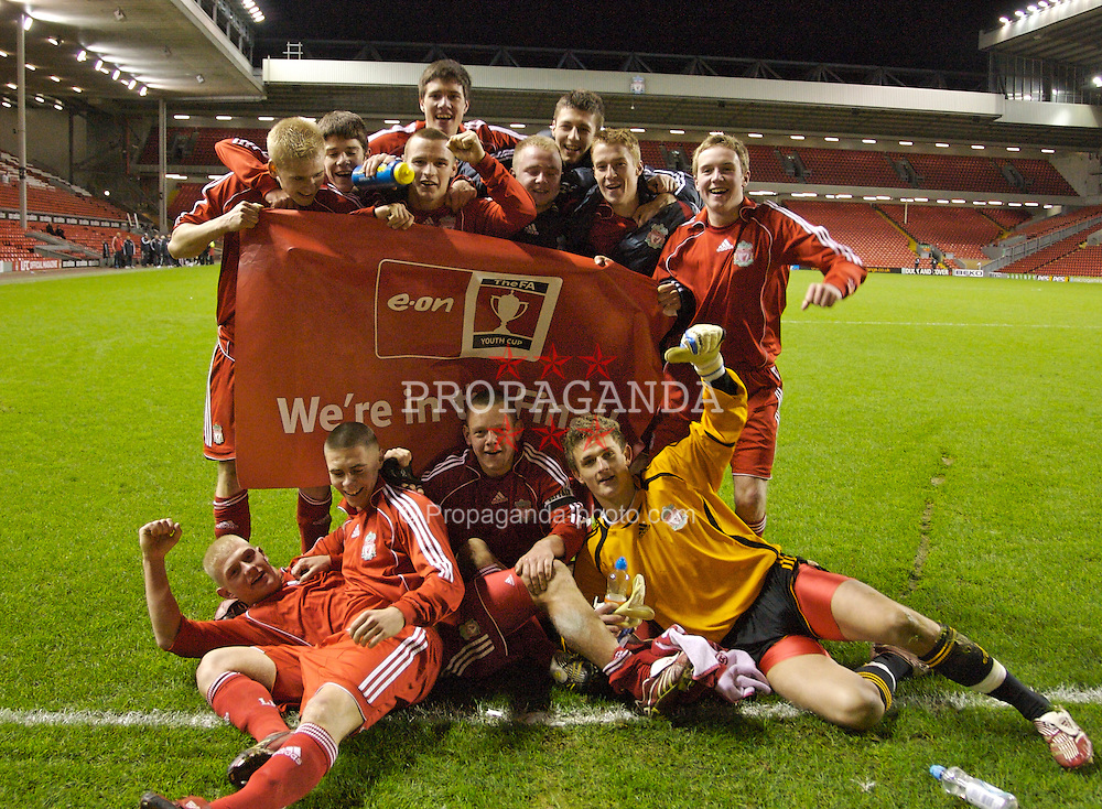 Liverpool, England - Monday, March 3, 2007: Liverpool players celebrate reaching the final after a 7-3 aggregate win over Newcastle United during the FA Youth Cup Semi-Final 2nd Leg at Anfield. Back row L-R: Robbie Threlfall, Ryan Flynn, Jimmy Ryan, Martin Kelly, Ray Putterill, Craig Lindfield, Stephen Darby, Steve Irwin. Front L-R: Michael Burns, Charlie Barnett, Jay Spearing, goalkeeper Martin Hansen. (Pic by David Rawcliffe/Propaganda)