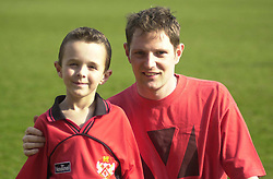 MASCOT WITH NIALL INMAN   Kettering Town v Folkestone Rockingham Road,  30th March 2002