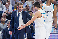Real Madrid Facundo Campazzo and FC Barcelona Lassa coach Sito Alonso during Liga Endesa match between Real Madrid and FC Barcelona Lassa at Wizink Center in Madrid, Spain. November 12, 2017. (ALTERPHOTOS/Borja B.Hojas)