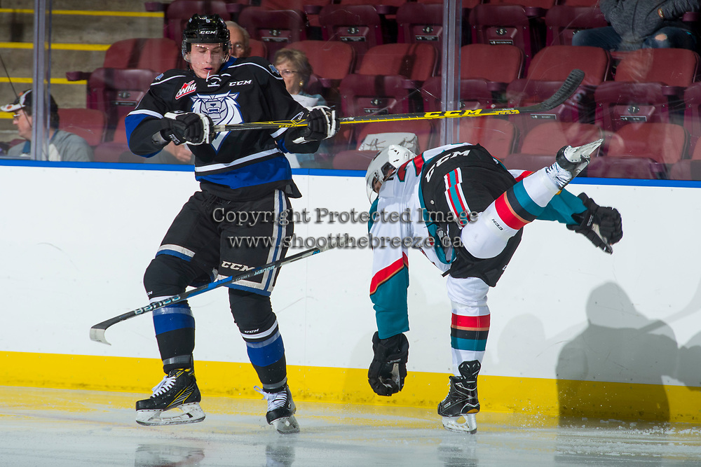 KELOWNA, CANADA - SEPTEMBER 2: Defenseman Mitchell Prowse #5 of the Victoria Royals checks a player of the Kelowna Rockets on September 2, 2017 at Prospera Place in Kelowna, British Columbia, Canada.  (Photo by Marissa Baecker/Shoot the Breeze)  *** Local Caption ***