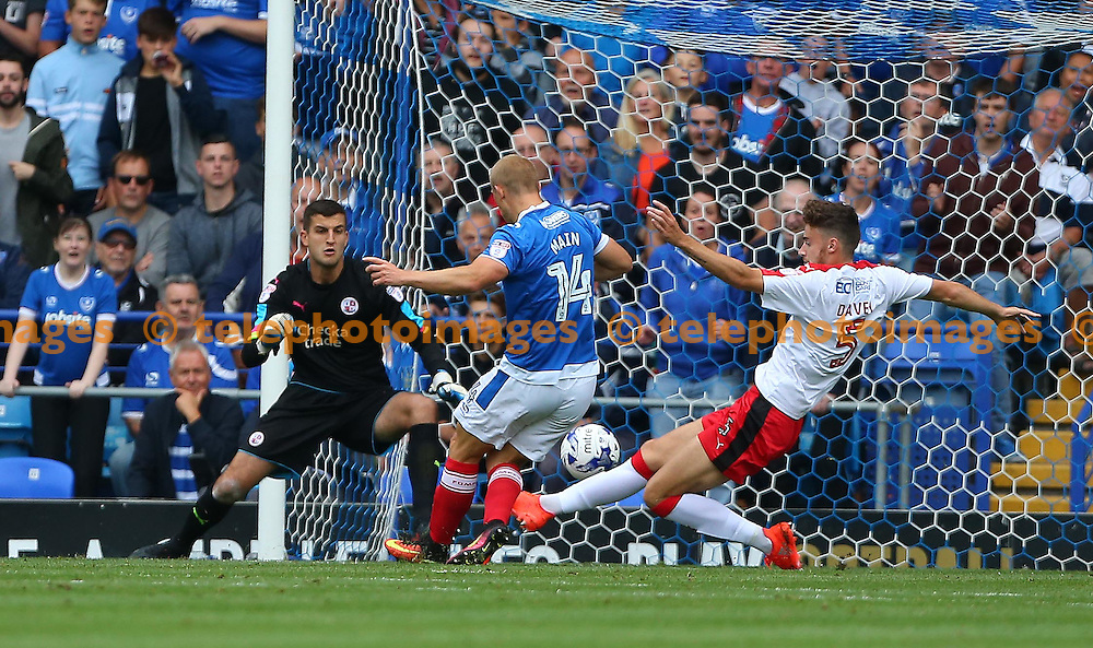 Curtis Main of Portsmouth  scores the opening goal during the Sky Bet League 2 match between Portsmouth and Crawley Town at Fratton Park in Portsmouth. September 3, 2016.<br /> James Boardman / Telephoto Images<br /> +44 7967 642437