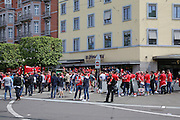 Liverpool fans in city centre before the Europa League Final match between Liverpool and Sevilla at St Jakob-Park, Basel, Switzerland on 18 May 2016. Photo by Phil Duncan.