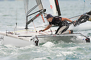 Peter Burling (NZL275), race seven of the A Class World championships regatta being sailed at Takapuna in Auckland. 15/2/2014
