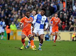 Ellis Harrison of Bristol Rovers challenges Abu Ogogo of Shrewsbury Town - Mandatory by-line: Neil Brookman/JMP - 03/02/2018 - FOOTBALL - Memorial Stadium - Bristol, England - Bristol Rovers v Shrewsbury Town - Sky Bet League One