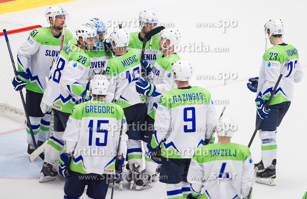 Players of Slovenia after the Ice Hockey match between Slovakia and Slovenia at Day 5 in Group B of 2015 IIHF World Championship, on May 5, 2015 in CEZ Arena, Ostrava, Czech Republic. Photo by Vid Ponikvar / Sportida