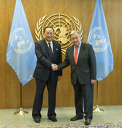 September 28, 2018 - New York, New York, United States - Secretary-General Antonio Guterres meets DPRK Minister of Foreign Affairs Ri Yong Ho during 73rd UNGA session at United Nations Headquarters (Credit Image: © Lev Radin/Pacific Press via ZUMA Wire)
