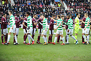 Player handshakes before the Ladbrokes Scottish Premiership match between Heart of Midlothian and Celtic at Tynecastle Stadium, Gorgie, Scotland on 17 December 2017. Photo by Kevin Murray.