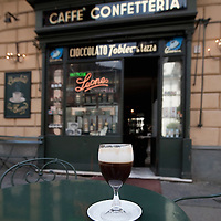 TURIN, ITALY - MAY 28:  Bicerin, the historic hot drink from Turin, is a mixture of espresso, drinking chocolate and fresh cream carefully layered in a glass on May 28, 2010 in Turin, Italy. The traditional recipe was created around 1750 in a cafe in front of the entrance of the Santuario della Consolata, where it is still served to this day.  (Photo by Marco Secchi/Getty Images)