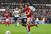 Yuri Ribeiro of Nottingham Forest & Duane Holmes of Derby County during the EFL Sky Bet Championship match between Nottingham Forest and Derby County at the City Ground, Nottingham, England on 9 November 2019.