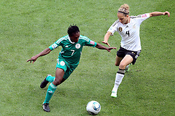 30.06.2011, Commerzbank Arena, Frankfurt, GER, FIFA Women Worldcup 2011, Gruppe A, Deutschland (GER) vs. Nigeria (NGA), im Bild:  Stella Mbachu (Nigeria #7) (L) gegen Babett Peter (GER #04, Potdsdam) (R)..// during the FIFA Women Worldcup 2011, Pool A, Germany vs Nigeria on 2011/06/30, Commerzbank Arena, Frankfurt, Germany.  EXPA Pictures © 2011, PhotoCredit: EXPA/ nph/  Mueller *** Local Caption ***       ****** out of GER / CRO  / BEL ******