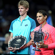 2017 U.S. Open Tennis Tournament - DAY FOURTEEN.  Rafael Nadal of Spain and Kevin Anderson of South Africa at the post match presentations after the Men's Singles Final at the US Open Tennis Tournament at the USTA Billie Jean King National Tennis Center on September 10, 2017 in Flushing, Queens, New York City.  (Photo by Tim Clayton/Corbis via Getty Images)
