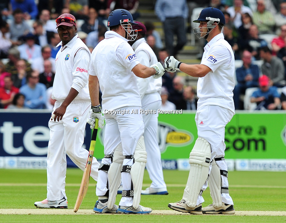 18.05.2012 London, England.  Andrew Strauss and Jonathan Trott in action during the First Test between England and West Indies from Lords.