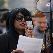 Downing Street, London, UK. 7th April 2017. Speaker of Stop the War Coalition Maz Saleem protests against fascist paranoid and a Islamophobic Donald Trump attack on Syria No facts, no investigation. No congress approval or UN opposite Downing Street demonstrating against the bombing in Syria by the US. by See Li