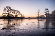 UNITED KINGDOM, London: 29 November 2016 A frozen lake amongst a frosty Richmond Park early this morning as temperatures plummeted to -7C last night. Rick Findler / Story Picture Agency