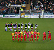 Dundee and Patrick during minutes silence - Dundee v Partick Thistle, Ladbrokes Premiership at Dens Park<br /> <br />  - &copy; David Young - www.davidyoungphoto.co.uk - email: davidyoungphoto@gmail.com
