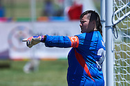 SO Russia athlete controls the ball while football women match 7-a-side during fourth day of the Special Olympics World Games Los Angeles 2015 on July 28, 2015 at Balboa Sports Centre in Los Angeles, USA.<br /> USA, Los Angeles, July 28, 2015<br /> <br /> Picture also available in RAW (NEF) or TIFF format on special request.<br /> <br /> For editorial use only. Any commercial or promotional use requires permission.<br /> <br /> Adam Nurkiewicz declares that he has no rights to the image of people at the photographs of his authorship.<br /> <br /> Mandatory credit:<br /> Photo by © Adam Nurkiewicz / Mediasport