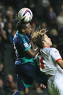 Picture by David Horn/Focus Images Ltd +44 7545 970036.25/09/2012.Alan Smith (r) of Milton Keynes Dons and Danny Rose (l) of Sunderland during the Capital One Cup match at stadium:mk, Milton Keynes.