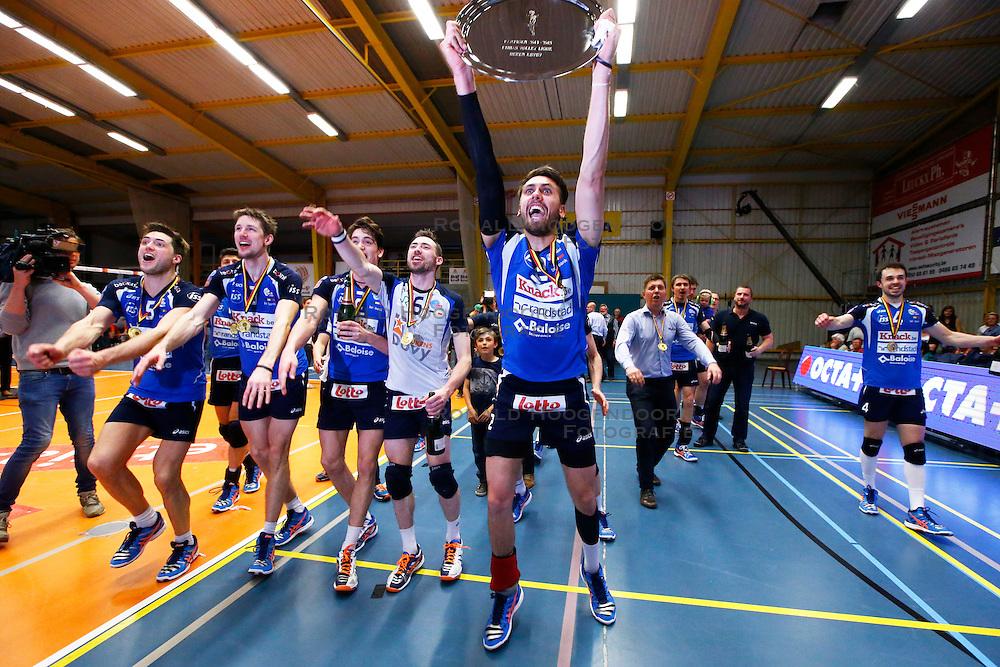 20150501 BEL: Volley Behappy2 Asse-Lennik - Knack Roeselare, Zellik<br />Knack Volley Roeselare is Kampioen van Belgie 2014 - 2015, Joppe Paulides (3) of Knack Volley Roeselare<br />&copy;2014-FotoHoogendoorn.nl / Pim Waslander
