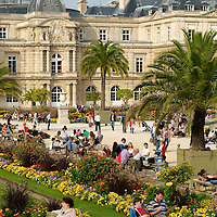 People enjoying the Luxembourg Gardens.