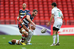 Giorgi Nemsadze of Bristol Rugby is tackled by Abdellatif Boutaty of Pau - Rogan Thomson/JMP - 11/12/2016 - RUGBY UNION - Ashton Gate Stadium - Bristol, England - Bristol Rugby v Pau - European Rugby Challenge Cup.