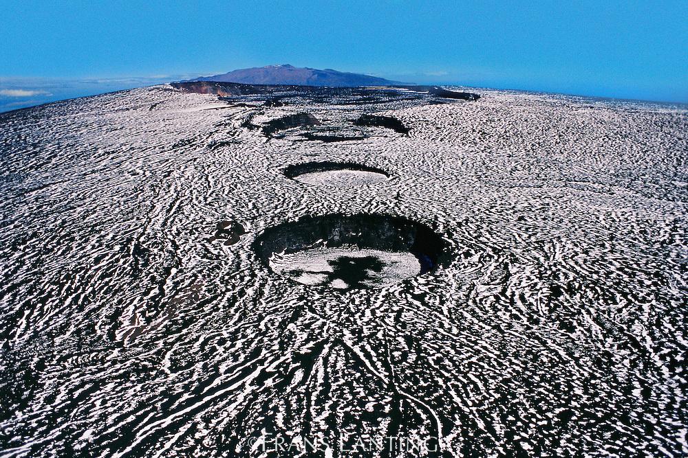 Summit of Mauna Loa with Mauna Kea in background (aerial), Hawaii Volcanoes National Park, Hawaii