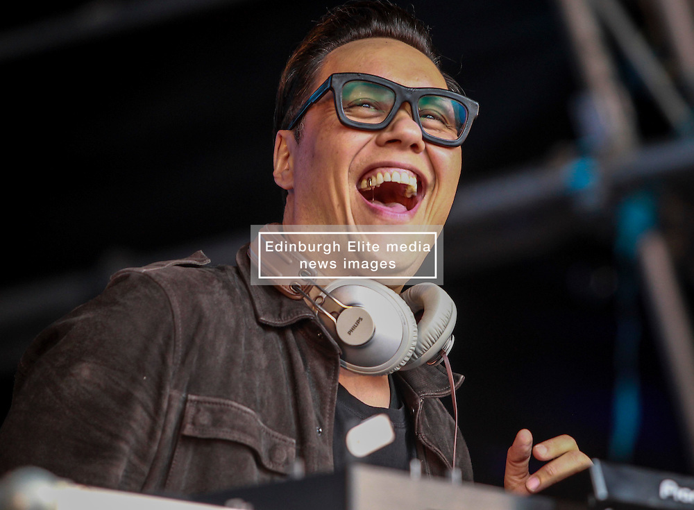 Pictured:<br /> Pictured: TV celebrity Gok Wan performs a Dj set at Party at the Palace at Linlithgow Palace .Andrew West/ EEm