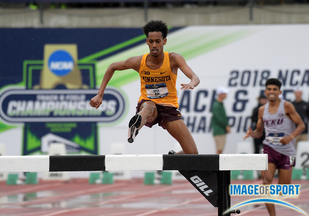 Jun 8, 2018; Eugene, OR, USA; Ali Obsa of Minnesota wins the steeplechase in 8:32.23 during the NCAA Track and Field championships at Hayward Field.