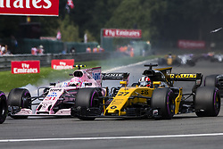 August 27, 2017 - Spa, Belgium - 31 OCON Esteban from France Force India overtaking 27 HULKENBERG Nico from Germany of team Renault Sport F1 team during the Formula One Belgian Grand Prix at Circuit de Spa-Francorchamps on August 27, 2017 in Spa, Belgium. (Credit Image: © Xavier Bonilla/NurPhoto via ZUMA Press)