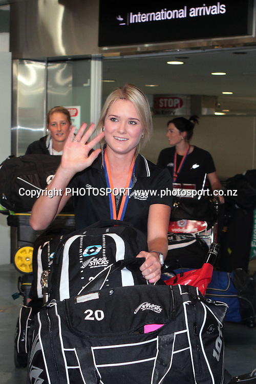 Samantha Harrison. Black Sticks Women's arrive at Auckland Airport after winning Bronze in the Champions Trophy. Auckland, New Zealand. Wednesday 6 July 2011. Photo: Ella Brockelsby/photosport.co.nz